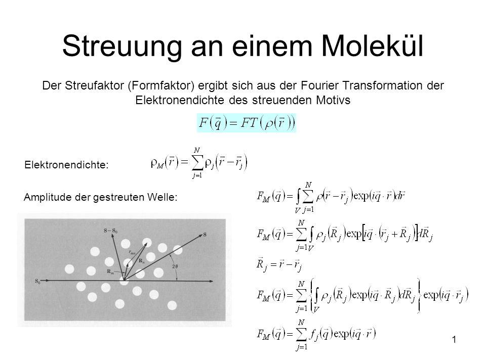 1 Streuung an einem Molekül Der Streufaktor (Formfaktor) ergibt sich aus der Fourier Transformation der Elektronendichte des streuenden Motivs Elektro