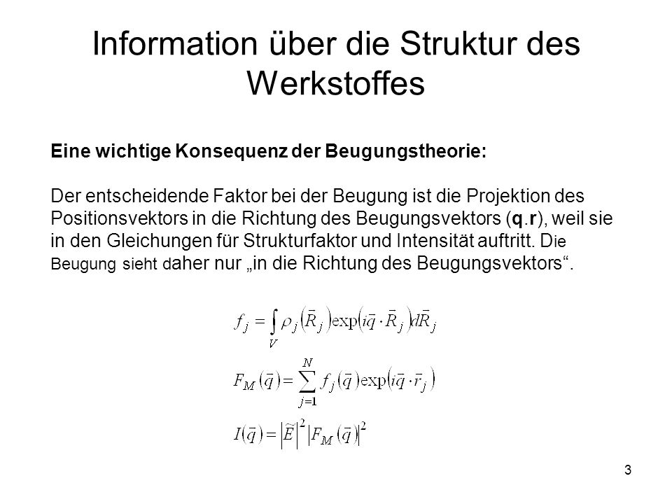 3 Information über die Struktur des Werkstoffes Eine wichtige Konsequenz der Beugungstheorie: Der entscheidende Faktor bei der Beugung ist die Projekt