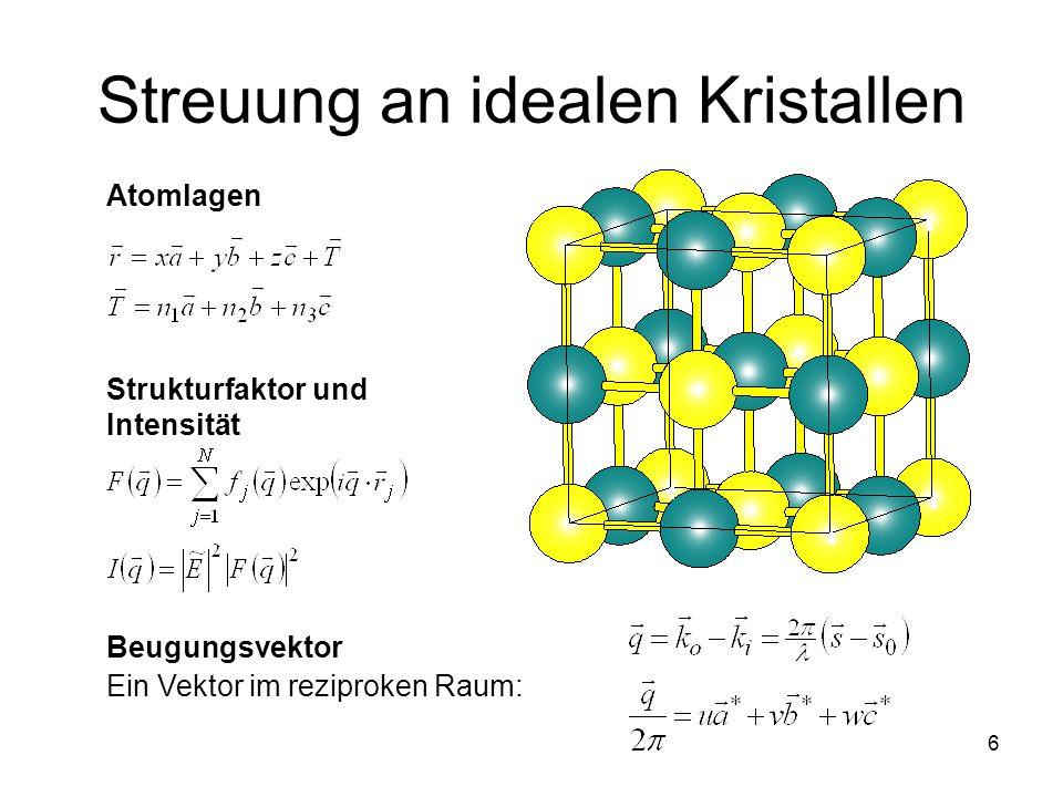 6 Streuung an idealen Kristallen Atomlagen Strukturfaktor und Intensität Beugungsvektor Ein Vektor im reziproken Raum: