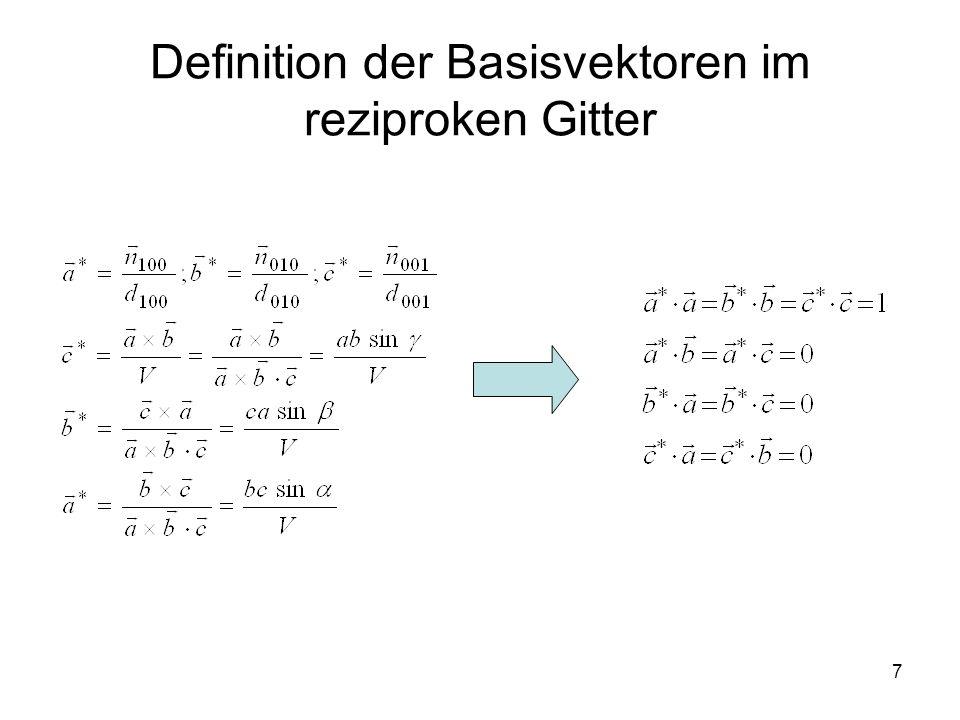 7 Definition der Basisvektoren im reziproken Gitter