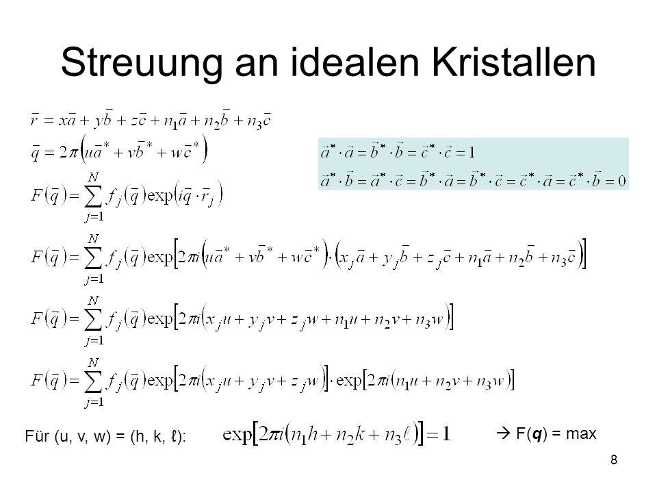 8 Streuung an idealen Kristallen Für (u, v, w) = (h, k, ): F(q) = max