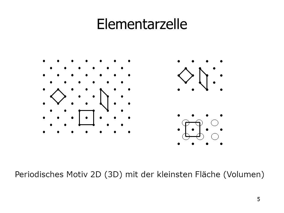 5 Elementarzelle Periodisches Motiv 2D (3D) mit der kleinsten Fläche (Volumen)