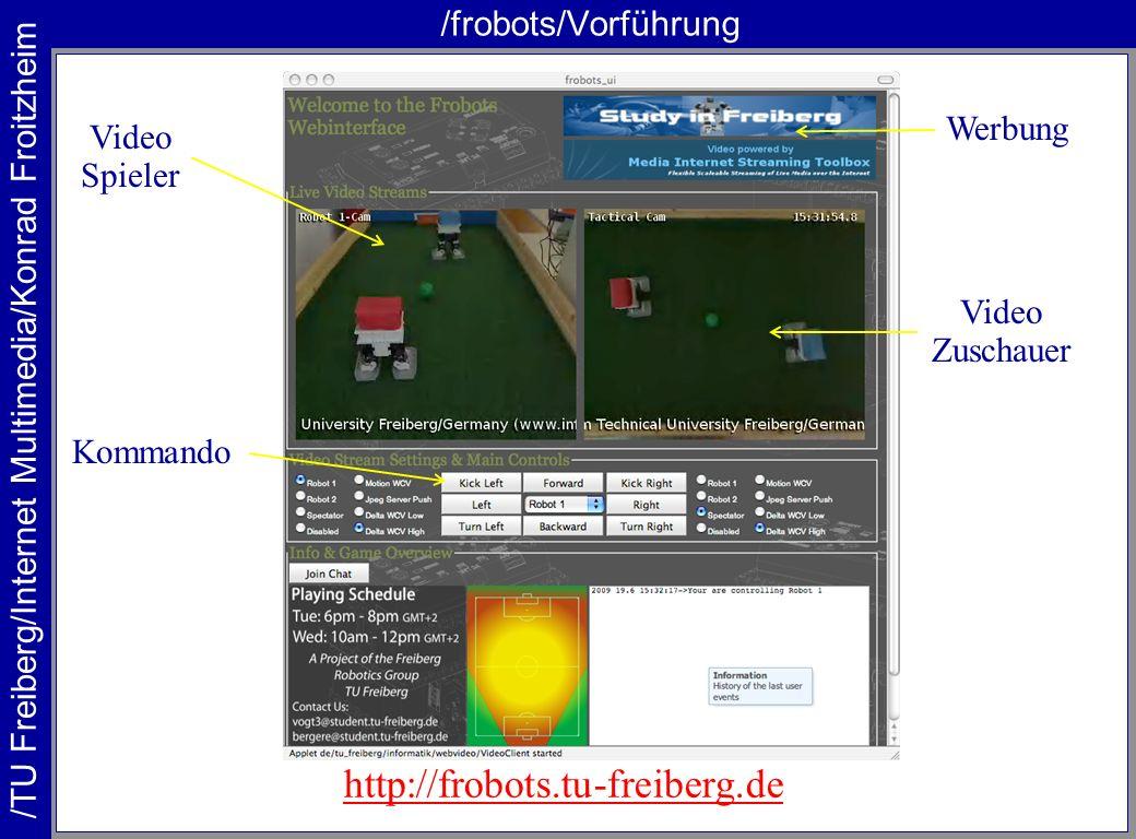 /frobots/Vorführung http://frobots.tu-freiberg.de Werbung Video Spieler Kommando Video Zuschauer
