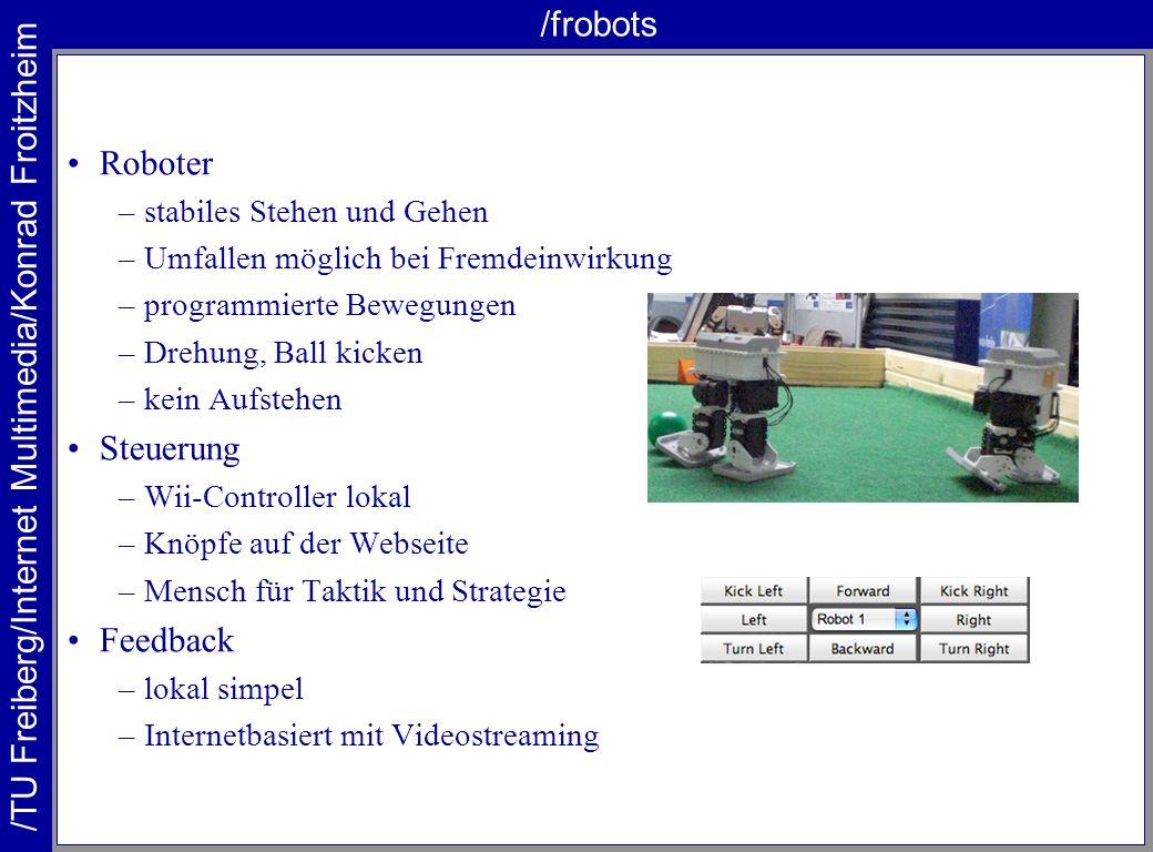 /TU Freiberg/Internet Multimedia/Konrad Froitzheim /frobots Roboter –stabiles Stehen und Gehen –Umfallen möglich bei Fremdeinwirkung –programmierte Be