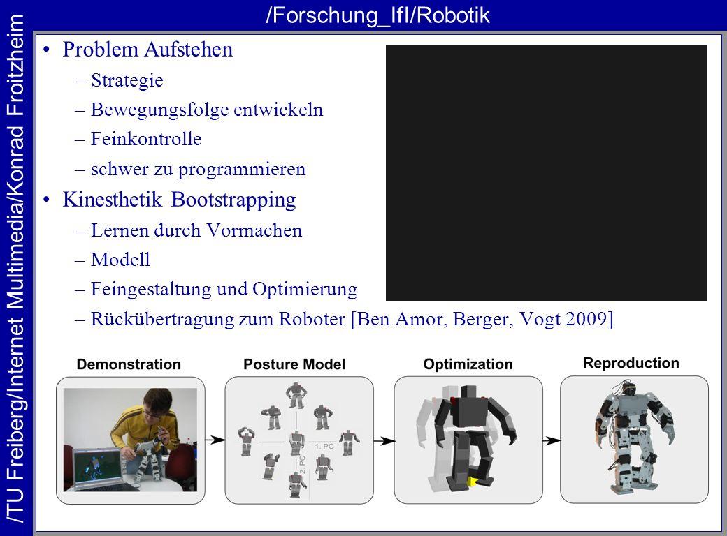 /TU Freiberg/Internet Multimedia/Konrad Froitzheim /Forschung_IfI/Robotik Problem Aufstehen –Strategie –Bewegungsfolge entwickeln –Feinkontrolle –schw