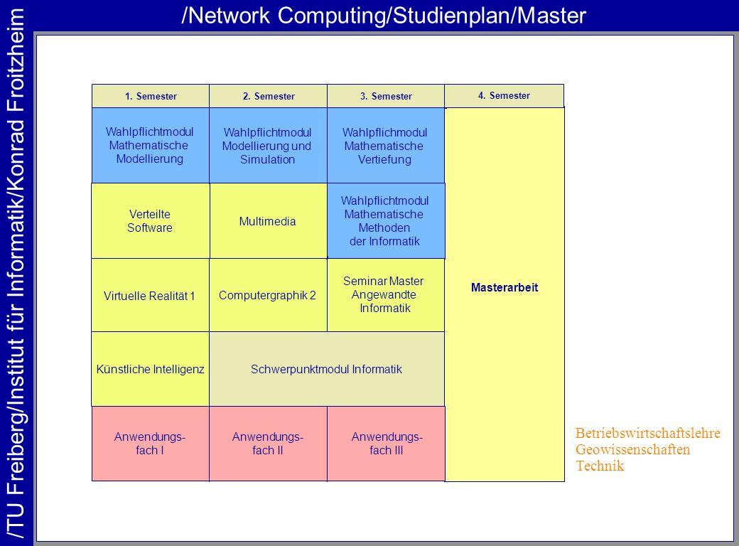 /TU Freiberg/Institut für Informatik/Konrad Froitzheim /Network Computing/Studienplan/Master Masterarbeit 1. Semester2. Semester3. Semester 4. Semeste