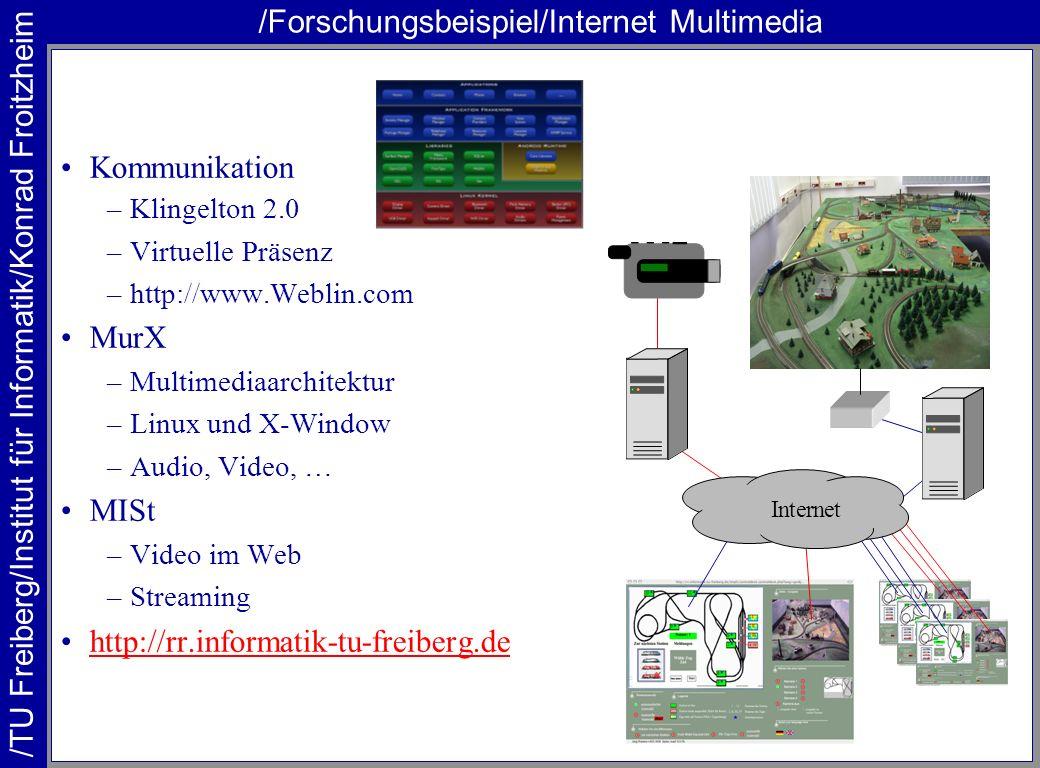 /TU Freiberg/Institut für Informatik/Konrad Froitzheim /Forschungsbeispiel/Internet Multimedia Kommunikation –Klingelton 2.0 –Virtuelle Präsenz –http: