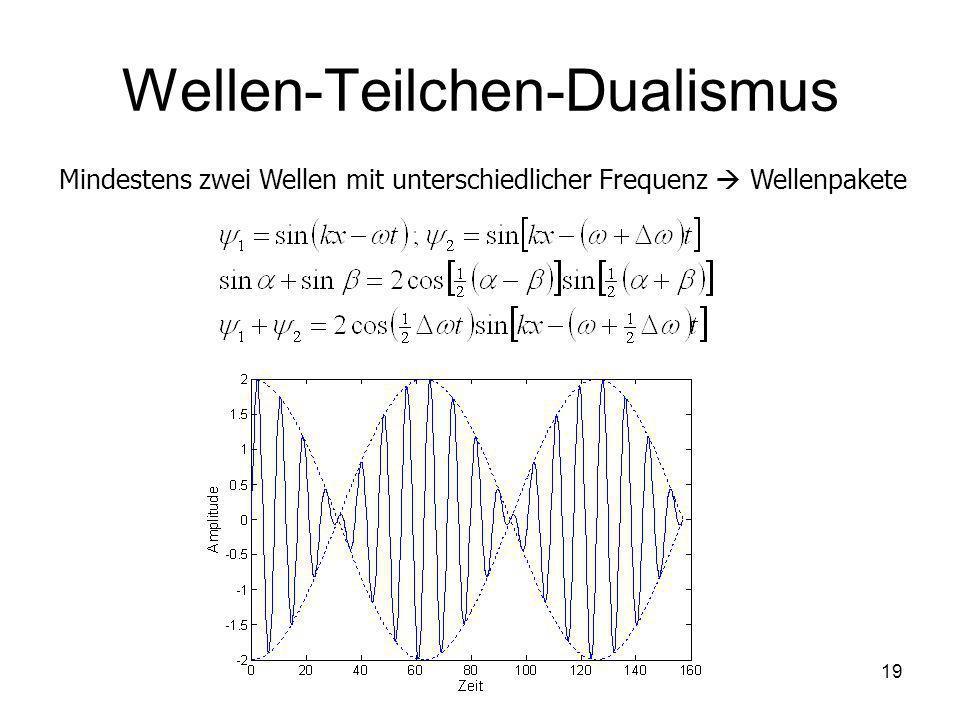 19 Wellen-Teilchen-Dualismus Mindestens zwei Wellen mit unterschiedlicher Frequenz Wellenpakete