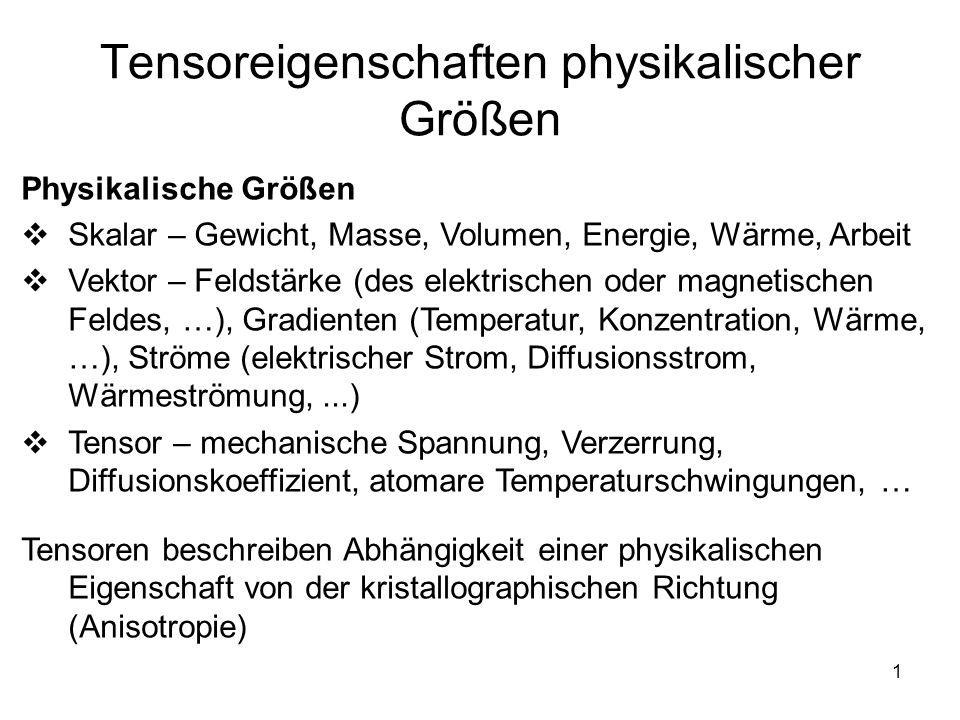 1 Tensoreigenschaften physikalischer Größen Physikalische Größen Skalar – Gewicht, Masse, Volumen, Energie, Wärme, Arbeit Vektor – Feldstärke (des ele
