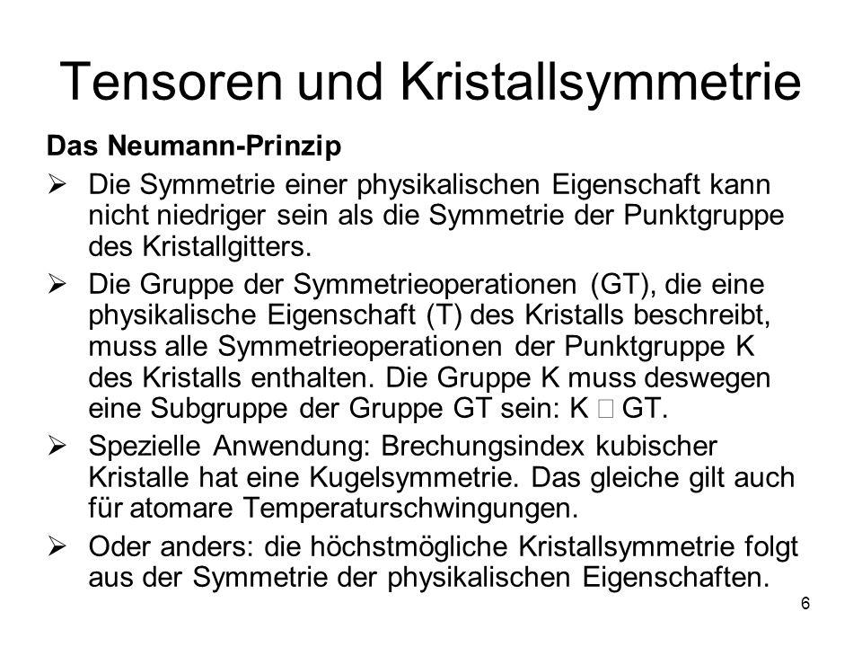 6 Tensoren und Kristallsymmetrie Das Neumann-Prinzip Die Symmetrie einer physikalischen Eigenschaft kann nicht niedriger sein als die Symmetrie der Pu