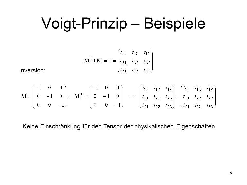 9 Voigt-Prinzip – Beispiele Inversion: Keine Einschränkung für den Tensor der physikalischen Eigenschaften