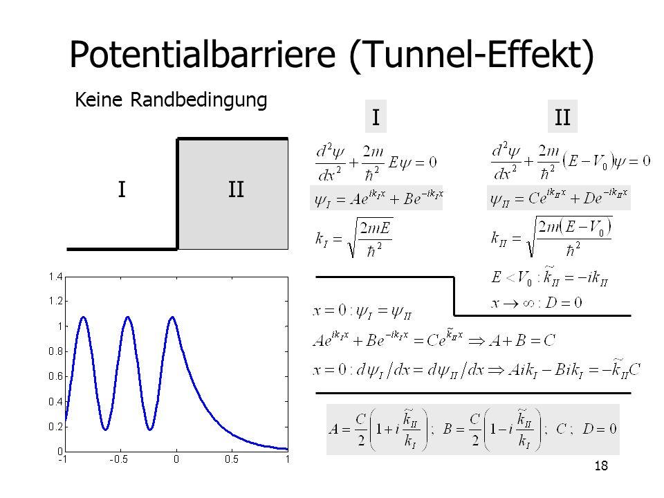 19 Tunnel-Effekt Quanten-mechanischer Effekt Klassisch: nur I (einfache Welle und ihre Reflexion) Anwendung –Tunnel-Diode –STM