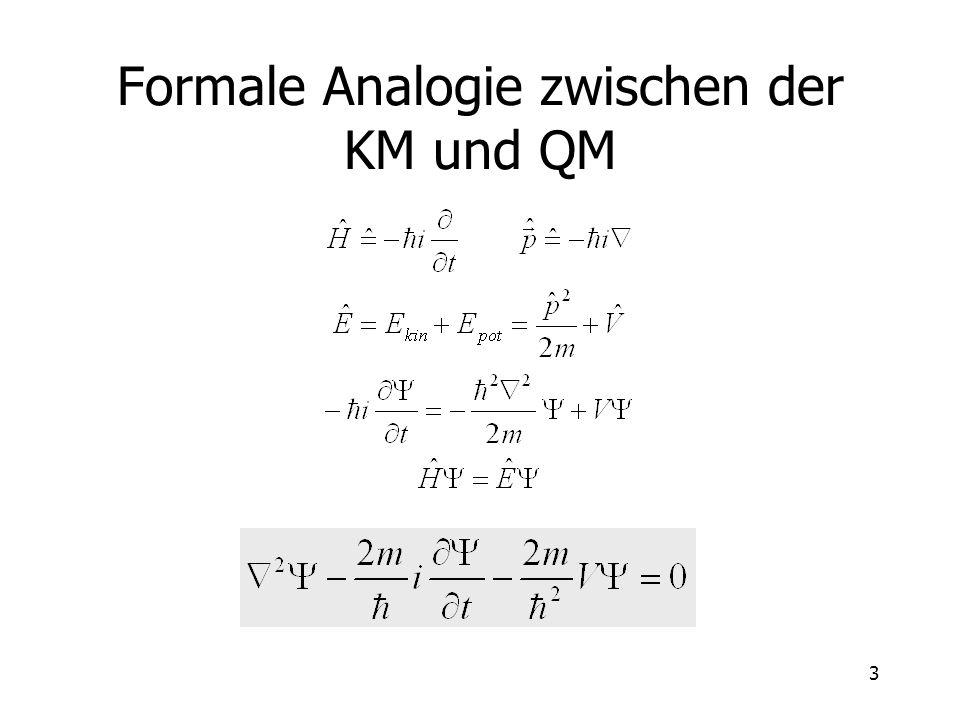 4 Lösung der Schrödinger-Gleichung Falls V von der Zeit nicht abhängt, wird die zeitunabhängige Schrödinger-Gleichung gelöst.