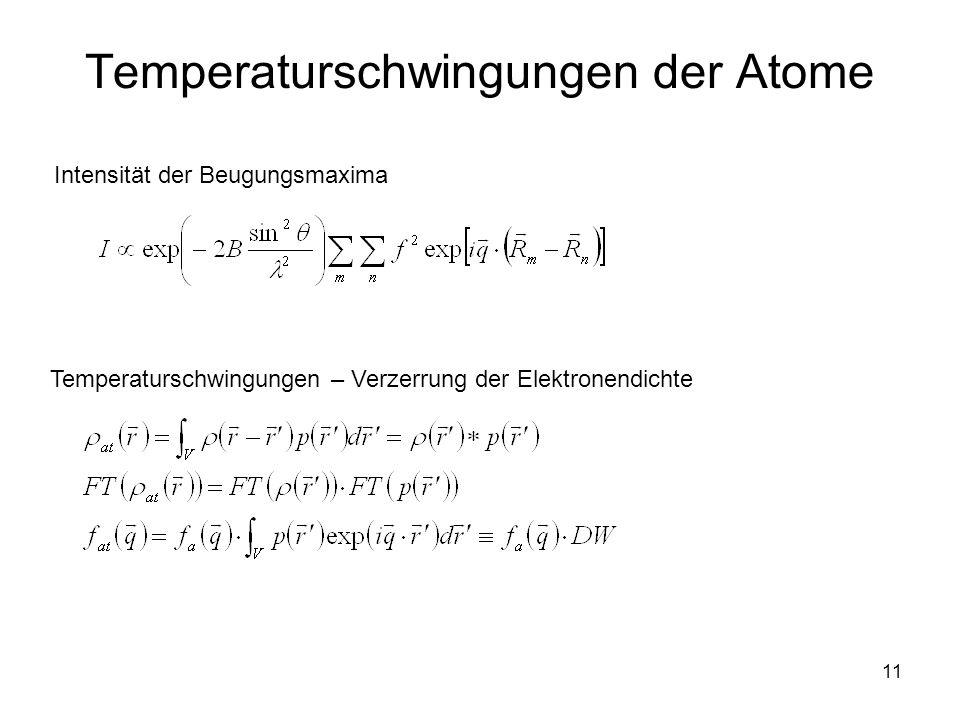 11 Temperaturschwingungen der Atome Intensität der Beugungsmaxima Temperaturschwingungen – Verzerrung der Elektronendichte