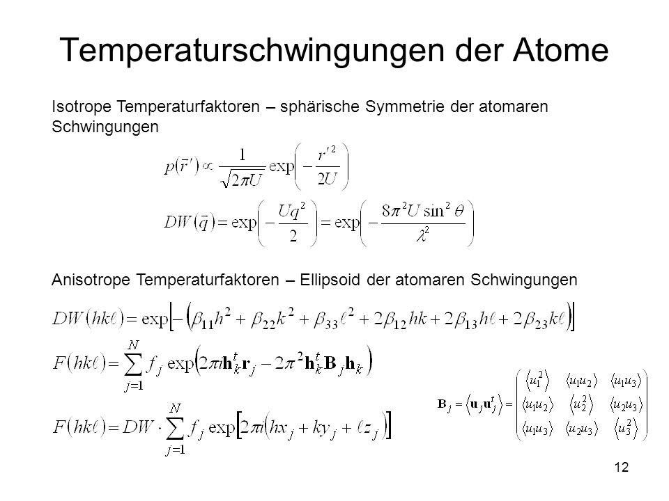 12 Temperaturschwingungen der Atome Isotrope Temperaturfaktoren – sphärische Symmetrie der atomaren Schwingungen Anisotrope Temperaturfaktoren – Ellip