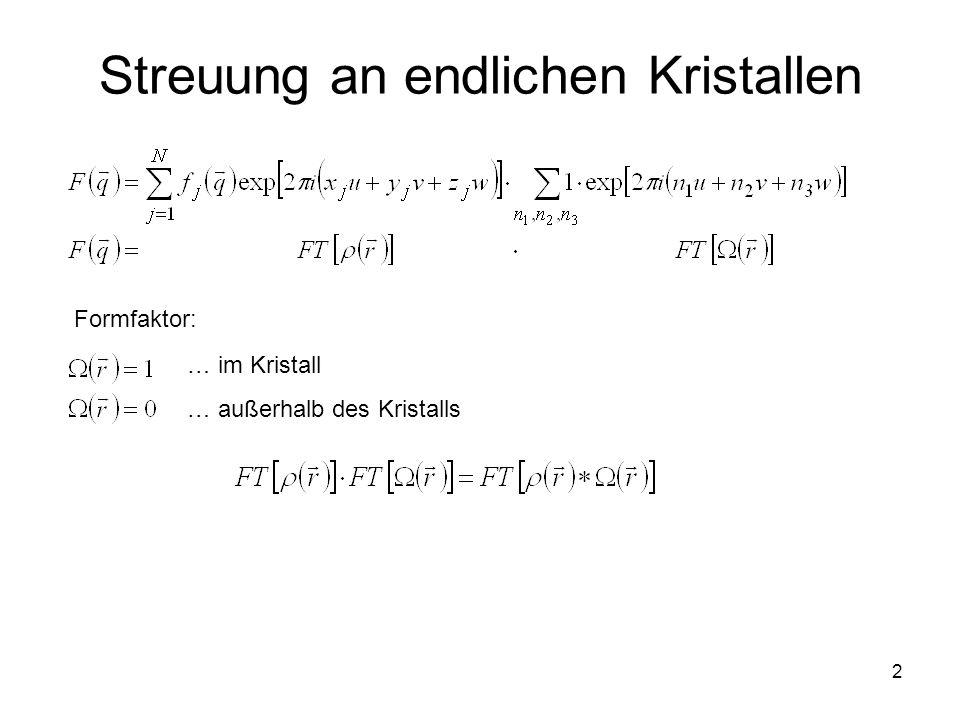 3 Streuung an endlichen Kristallen Konstante (vom Beugungsvektor q unabhängige) Verbreiterung der Knotenpunkte des reziproken Gitters