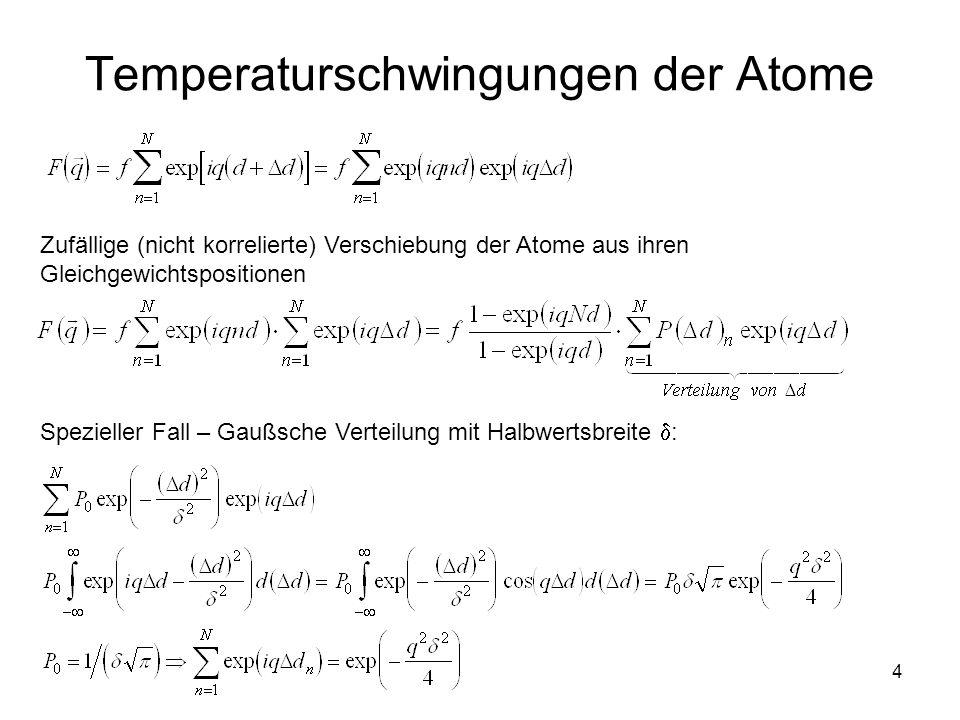 4 Temperaturschwingungen der Atome Zufällige (nicht korrelierte) Verschiebung der Atome aus ihren Gleichgewichtspositionen Spezieller Fall – Gaußsche