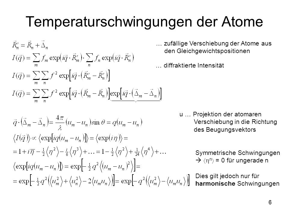 7 Temperaturschwingungen der Atome Temperaturschwingungen der Nachbaratome sind unabhängig Temperaturschwingungen der Atome: tragen zur Diffusionsstreuung bei (temperature diffuse scattering, TDS) – der erste Teil der Gleichung für Intensität sind einer der Gründe für die Abnahme der Intensität der Braggschen Beugungsmaxima bei höheren Beugungswinkeln – der exponentielle Faktor im zweiten Teil der Gleichung Diffraktierte Intensität