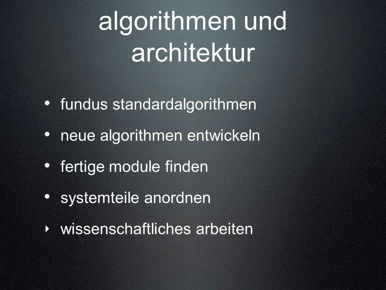 algorithmen und architektur fundus standardalgorithmen neue algorithmen entwickeln fertige module finden systemteile anordnen wissenschaftliches arbei