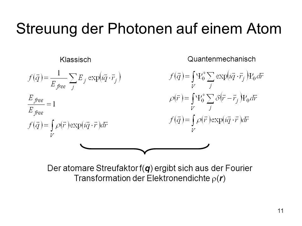 11 Streuung der Photonen auf einem Atom Quantenmechanisch Klassisch Der atomare Streufaktor f(q) ergibt sich aus der Fourier Transformation der Elektr
