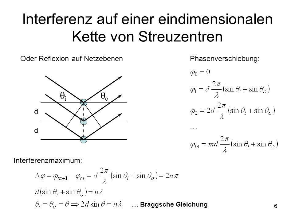 6 Interferenz auf einer eindimensionalen Kette von Streuzentren i o Phasenverschiebung: Interferenzmaximum: … Braggsche Gleichung d d Oder Reflexion a