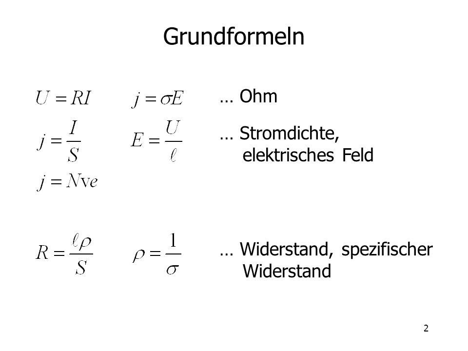 2 Grundformeln … Ohm … Stromdichte, elektrisches Feld … Widerstand, spezifischer Widerstand
