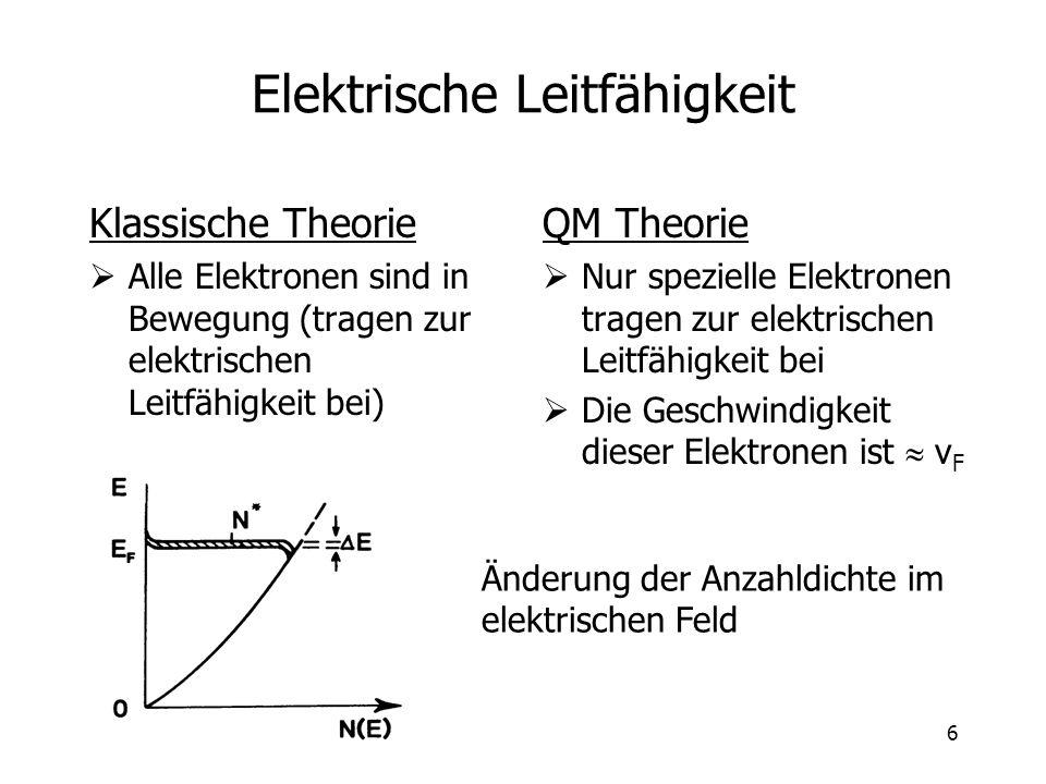 6 Elektrische Leitfähigkeit Klassische Theorie Alle Elektronen sind in Bewegung (tragen zur elektrischen Leitfähigkeit bei) QM Theorie Nur spezielle E
