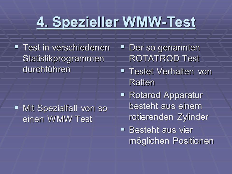 4. Spezieller WMW-Test Test in verschiedenen Statistikprogrammen durchführen Test in verschiedenen Statistikprogrammen durchführen Mit Spezialfall von
