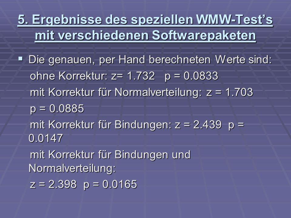 5. Ergebnisse des speziellen WMW-Tests mit verschiedenen Softwarepaketen Die genauen, per Hand berechneten Werte sind: Die genauen, per Hand berechnet