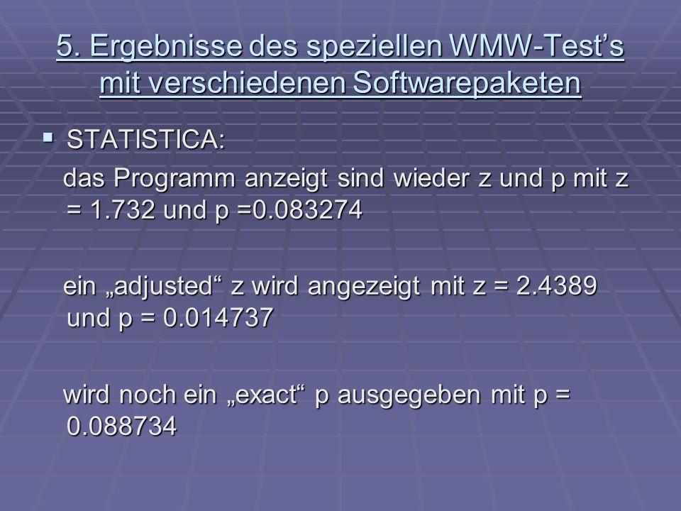 5. Ergebnisse des speziellen WMW-Tests mit verschiedenen Softwarepaketen STATISTICA: STATISTICA: das Programm anzeigt sind wieder z und p mit z = 1.73