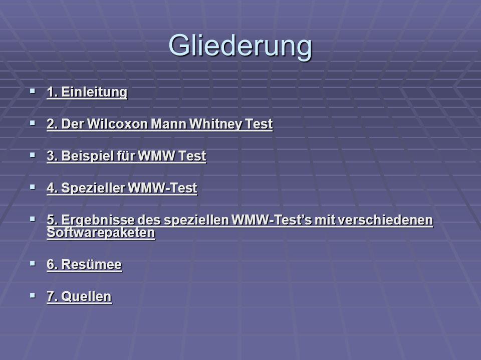 Gliederung 1. Einleitung 1. Einleitung 2. Der Wilcoxon Mann Whitney Test 2.