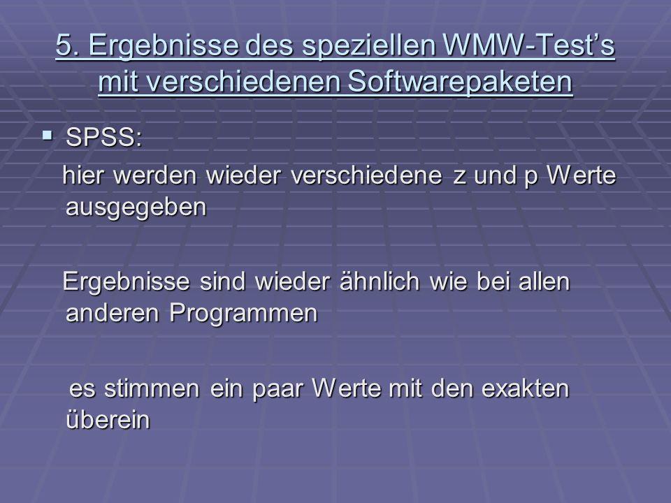 5. Ergebnisse des speziellen WMW-Tests mit verschiedenen Softwarepaketen SPSS: SPSS: hier werden wieder verschiedene z und p Werte ausgegeben hier wer