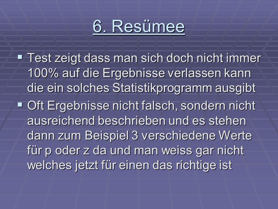 6. Resümee Test zeigt dass man sich doch nicht immer 100% auf die Ergebnisse verlassen kann die ein solches Statistikprogramm ausgibt Test zeigt dass