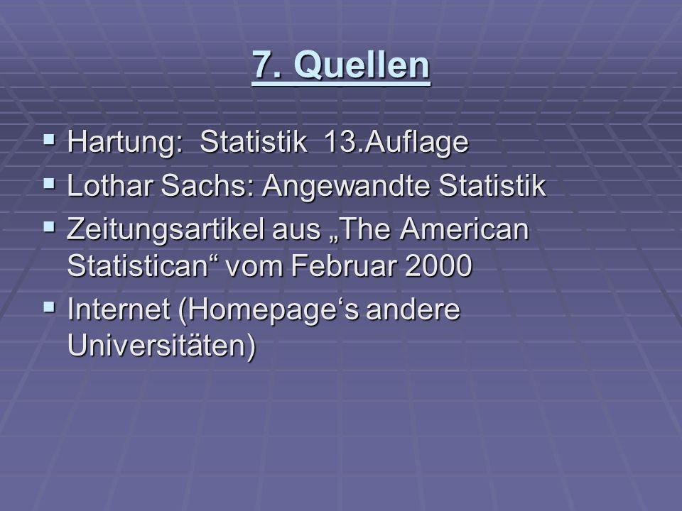 7. Quellen Hartung: Statistik 13.Auflage Hartung: Statistik 13.Auflage Lothar Sachs: Angewandte Statistik Lothar Sachs: Angewandte Statistik Zeitungsa