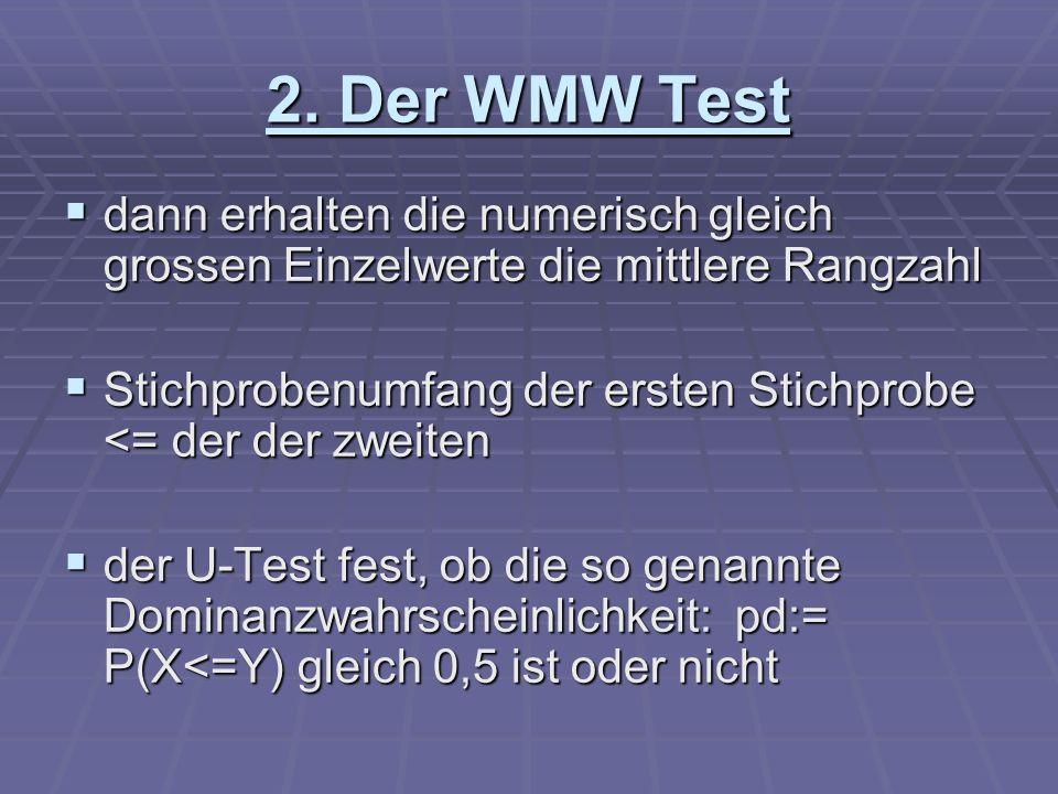 2. Der WMW Test dann erhalten die numerisch gleich grossen Einzelwerte die mittlere Rangzahl dann erhalten die numerisch gleich grossen Einzelwerte di