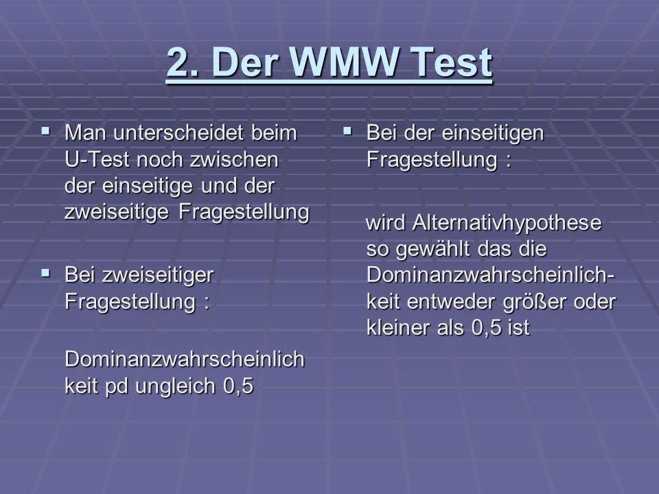 2. Der WMW Test Man unterscheidet beim U-Test noch zwischen der einseitige und der zweiseitige Fragestellung Man unterscheidet beim U-Test noch zwisch