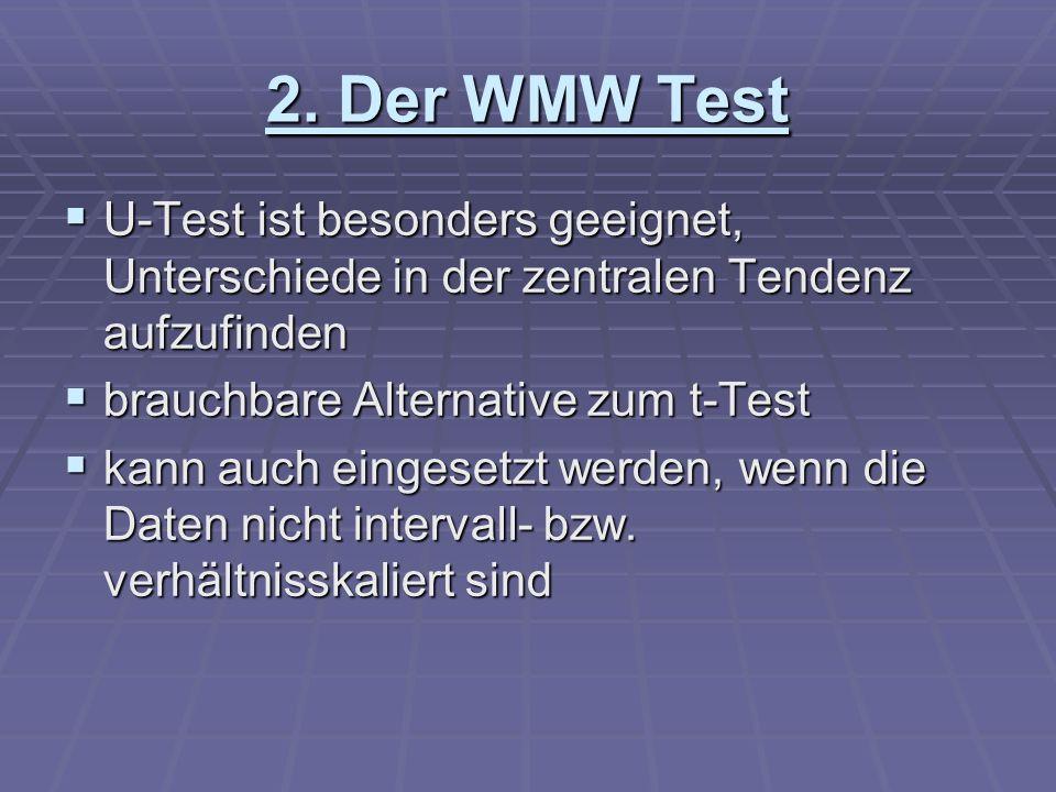 2. Der WMW Test U-Test ist besonders geeignet, Unterschiede in der zentralen Tendenz aufzufinden U-Test ist besonders geeignet, Unterschiede in der ze