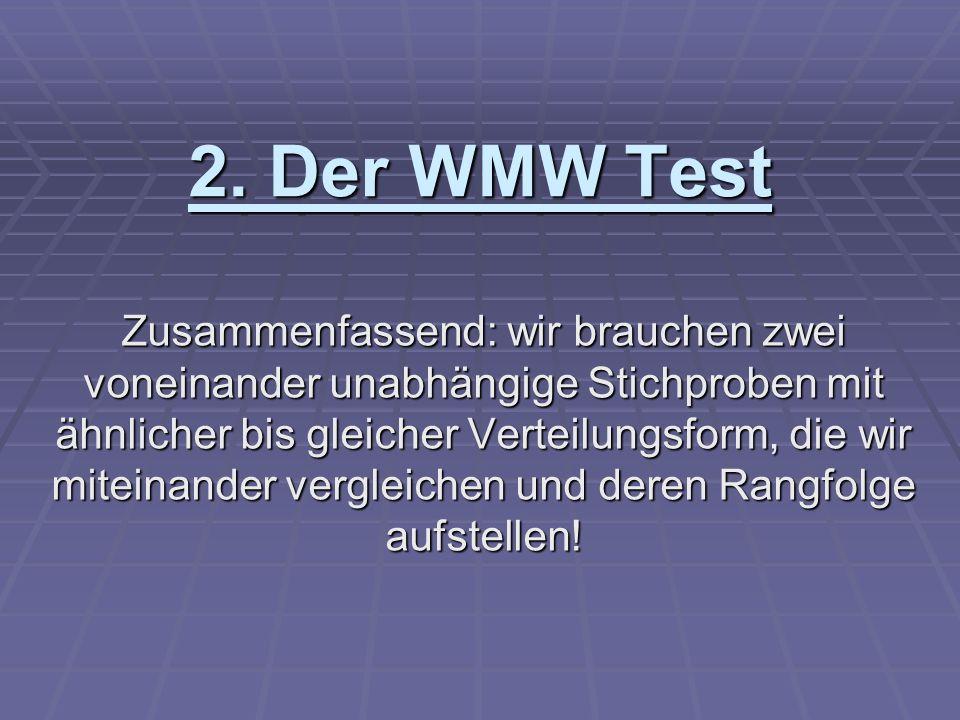 2. Der WMW Test Zusammenfassend: wir brauchen zwei voneinander unabhängige Stichproben mit ähnlicher bis gleicher Verteilungsform, die wir miteinander