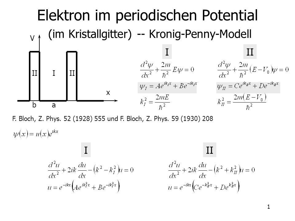 1 Elektron im periodischen Potential (im Kristallgitter) -- Kronig-Penny-Modell III I V x ba F. Bloch, Z. Phys. 52 (1928) 555 und F. Bloch, Z. Phys. 5