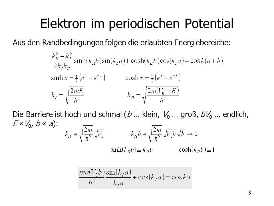 3 Elektron im periodischen Potential Aus den Randbedingungen folgen die erlaubten Energiebereiche: Die Barriere ist hoch und schmal (b … klein, V 0 …