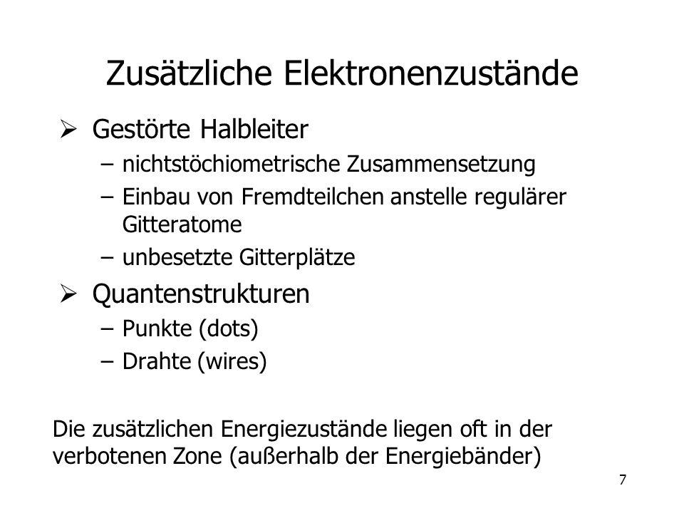 7 Zusätzliche Elektronenzustände Gestörte Halbleiter –nichtstöchiometrische Zusammensetzung –Einbau von Fremdteilchen anstelle regulärer Gitteratome –