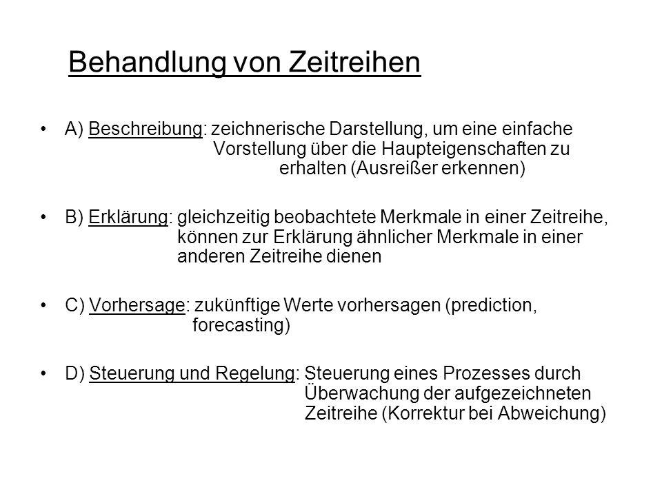 Behandlung von Zeitreihen A) Beschreibung: zeichnerische Darstellung, um eine einfache Vorstellung über die Haupteigenschaften zu erhalten (Ausreißer erkennen) B) Erklärung: gleichzeitig beobachtete Merkmale in einer Zeitreihe, können zur Erklärung ähnlicher Merkmale in einer anderen Zeitreihe dienen C) Vorhersage: zukünftige Werte vorhersagen (prediction, forecasting) D) Steuerung und Regelung: Steuerung eines Prozesses durch Überwachung der aufgezeichneten Zeitreihe (Korrektur bei Abweichung)