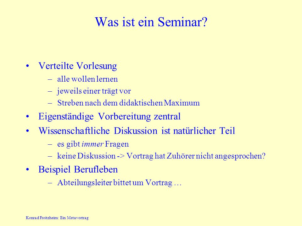 SeminarHardware-Software Interface - ein Metavortrag Konrad Froitzheim