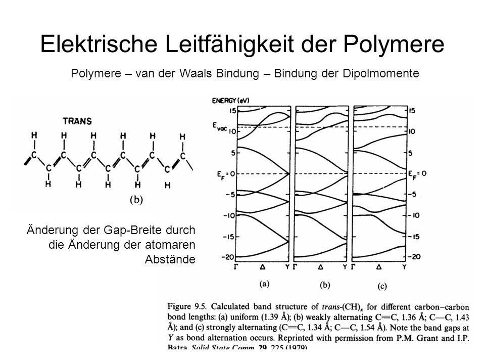 1 Elektrische Leitfähigkeit der Polymere Polymere – van der Waals Bindung – Bindung der Dipolmomente Änderung der Gap-Breite durch die Änderung der atomaren Abstände