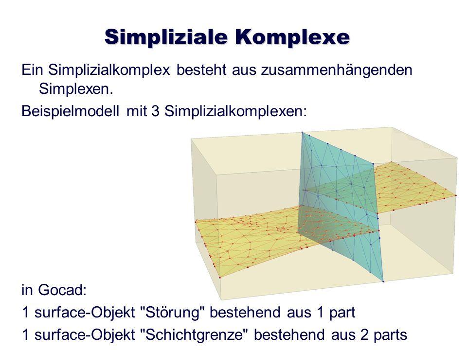Simpliziale Komplexe Ein Simplizialkomplex besteht aus zusammenhängenden Simplexen. Beispielmodell mit 3 Simplizialkomplexen: in Gocad: 1 surface-Obje