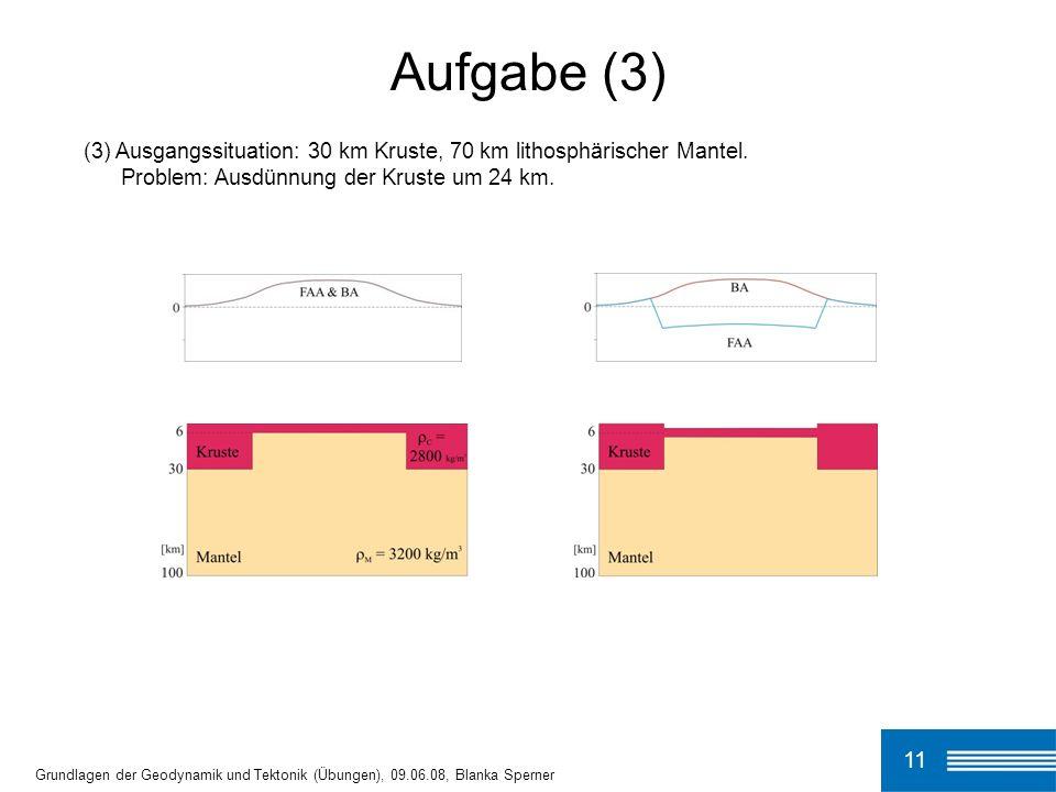 (3) Ausgangssituation: 30 km Kruste, 70 km lithosphärischer Mantel. Problem: Ausdünnung der Kruste um 24 km. Aufgabe (3) 11 Grundlagen der Geodynamik