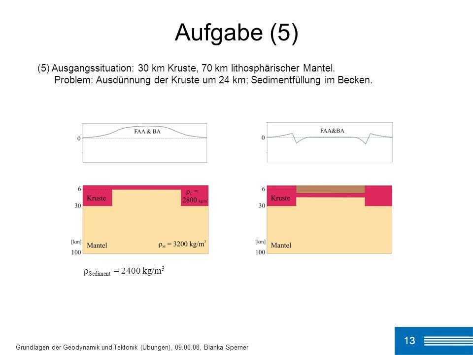 (5) Ausgangssituation: 30 km Kruste, 70 km lithosphärischer Mantel. Problem: Ausdünnung der Kruste um 24 km; Sedimentfüllung im Becken. Aufgabe (5) 13