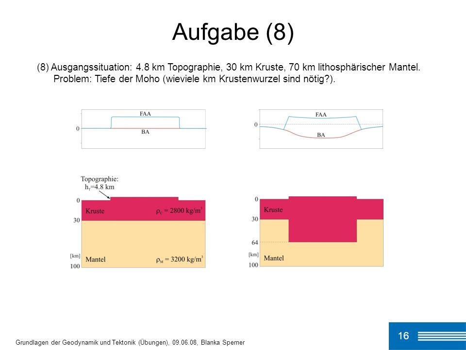 (8) Ausgangssituation: 4.8 km Topographie, 30 km Kruste, 70 km lithosphärischer Mantel. Problem: Tiefe der Moho (wieviele km Krustenwurzel sind nötig?