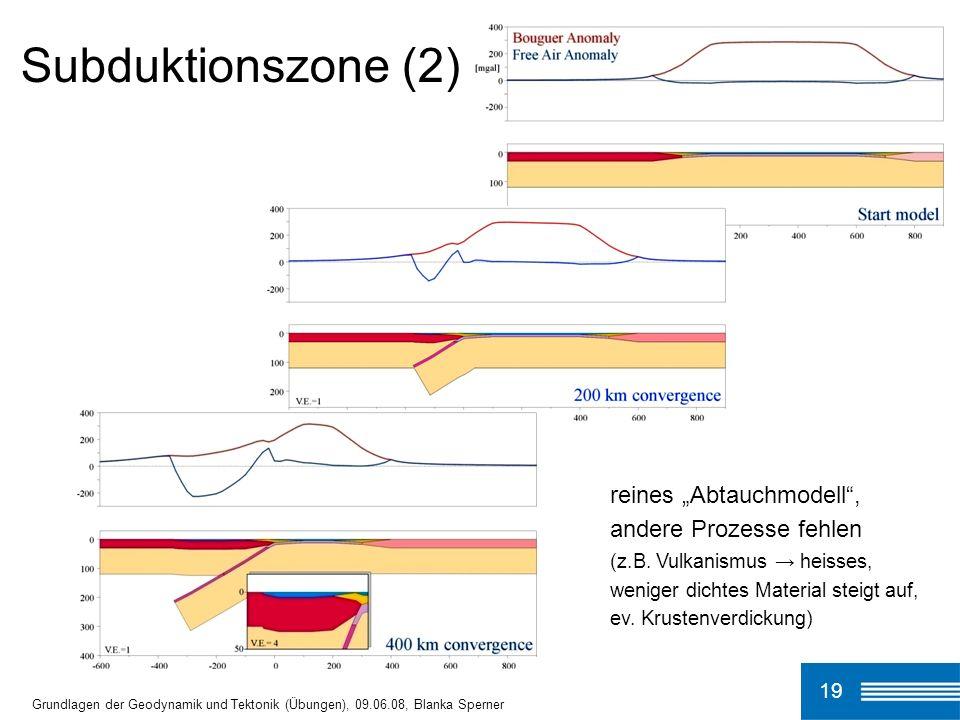 Subduktionszone (2) 19 Grundlagen der Geodynamik und Tektonik (Übungen), 09.06.08, Blanka Sperner reines Abtauchmodell, andere Prozesse fehlen (z.B. V
