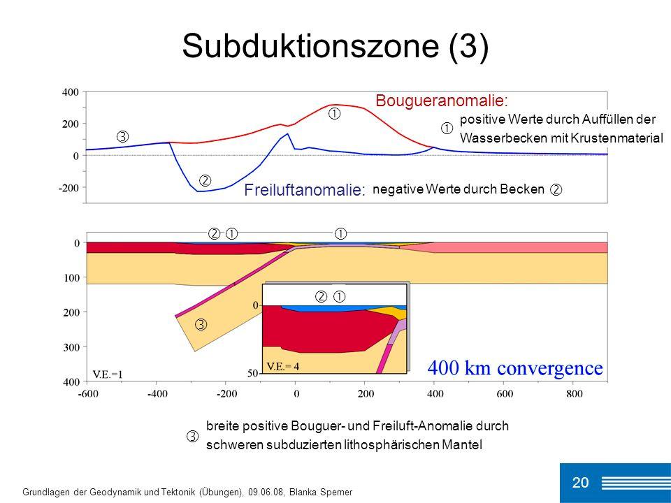 Subduktionszone (3) 20 Grundlagen der Geodynamik und Tektonik (Übungen), 09.06.08, Blanka Sperner Bougueranomalie: Freiluftanomalie: breite positive B